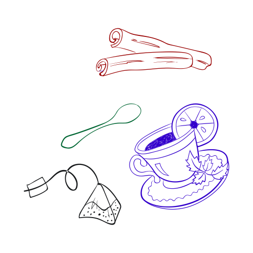 illustration of teacup, cinnamon sticks, spoon and teabag