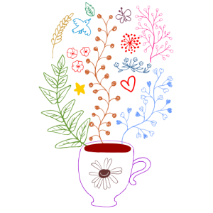 illustration of a teacup and herbs, hearts, stars rising from it